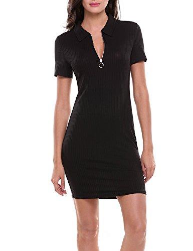 Zeagoo Ballkleid Damen A-Linie Basic Kleid Halbärmel Quaste Funky (Schwarz XL)