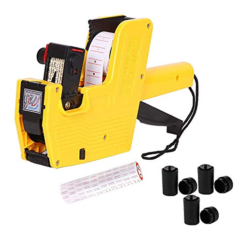 MX5500 Price Tag Gun for Clothing Tags -Price Stickers-Expiration Date Stamp-Gun Stickers, 1 line Label Gun, Date Sticker Gun | A Price Gun, 10 Roll Labels, 3 Ink Wheels(Yellow)