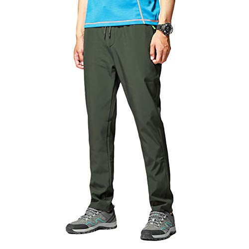 Pantalones de Senderismo Hombre Deportiva al Aire Libre Impermeable Trekking Camping para Fitness Camping Escalada, Correr y Esquiar,Verde,L