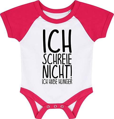 Kleckerliese Baby Body Baseball Kurzarm Sprüche Jungen Mädchen Aufdruck Motiv Ich Schreie Nicht! Ich Habe Hunger, WhiteFuchsia, 6-12 Monate