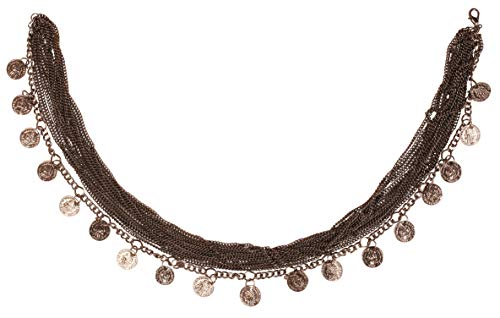 Touchstone New Indian Oxidized Jewelry Bollywood Fine Embossing Figurative Coin Shape Charms Multiple Chains Designer Jewelry Necklace In Dark Oxidized Tone For Women.
