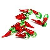 Cheriswelry 20 colgantes de cristal de Lampwork con diseño de pimienta roja y chile caliente para joyas, pendientes, tobilleras, 26 – 36 mm