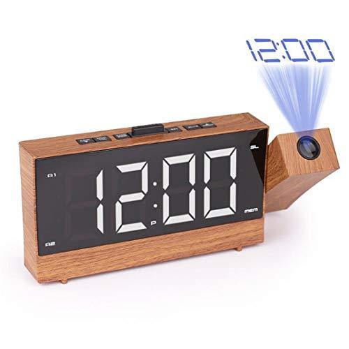 1,8 Zoll Wecker mit Projektion, Holz Deckenprojektion LED Elektronischer Wecker Projektionsuhr, FM-Radio Backlight/Snooze Projektionswecker