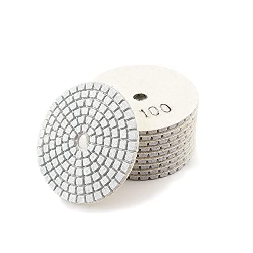LEISHENT Almohadillas De Pulido De Diamante En Seco Y Húmedo De Diamante para Amoladora O Pulidora De Pisos De Mármol De Concreto De Piedra De Granito,4 Pulgadas, 10 Pcs,100Grit