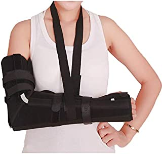 Elbow Sling, Adult Full Arm Brace for Elbow Forearm Post-Surgery Immobilizer & Fracture Splint with 7 Straps (Medium)