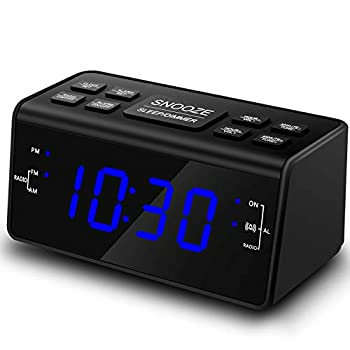 Alarm Clock Alarm Clocks for Bedrooms with AM/FM Radio,Dimmer,Snooze,Battery Backup