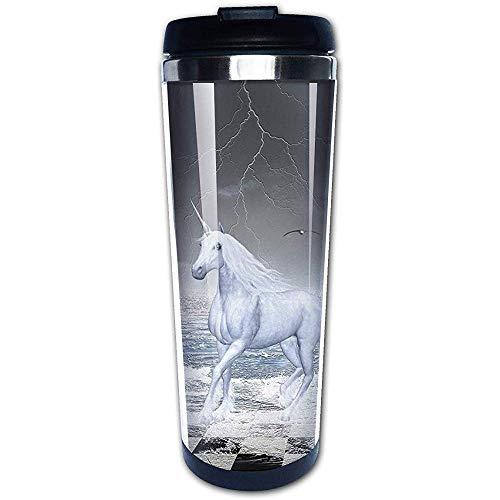 JULOE Meer auf Schachbrett mit einem Pferd Kaffeetassen Edelstahl Wasserflasche Tasse Travel Mug Kaffeebecher
