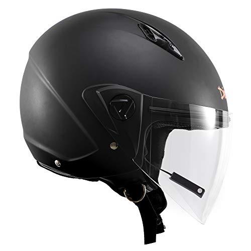 Casco de moto Jet Bluetooth de regalo ligero para hombre y mujer demi-jet, visera esférica antiarañazos y antivaho, negro mate, talla M