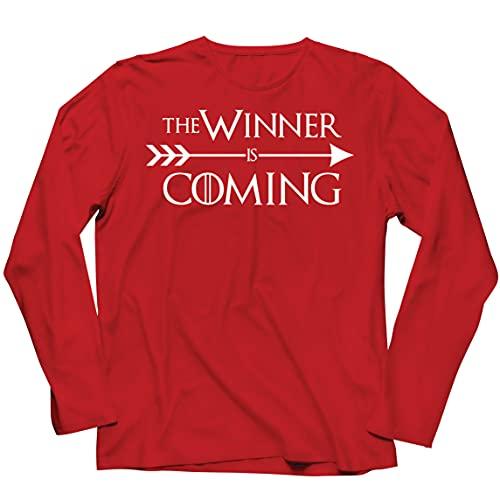 lepni.me Camiseta de Manga Larga para Hombre ¡Viene el Ganador! Divertido Atuendo Motivacional para fanáticos de los Deportes (S Rojo Multicolor)