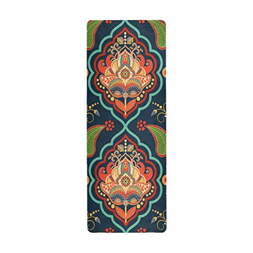 SUABO Yoga Mat Towel Tribal Ethnic Floral Paisley Fitness Exercise Mat Non Slip Workout Mat for Yoga Pilates and Floor Exercises