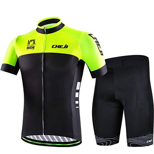 Gwell - Conjunto de maillot de ciclismo para hombre (manga corta, pantalón y almohadilla para el asiento), Todo el año, Hombre, color verde, tamaño EU L (Blindar: XXL)
