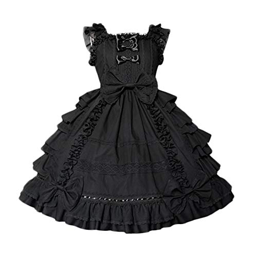 Nuoqi Girls Sweet JSK Lolita Dress Lace Frilly Princess Court Skirts Hollaween Party Cosplay Costume Dresses CC220K-S Black