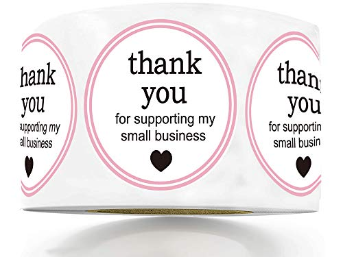 """1.5"""" Round Thank You for Supporting My Small Business Sticker Labels with Hearts - Waterproof Printed Pink/White Small Business Thank You Stickers 500 Thank You Labels Per Roll"""