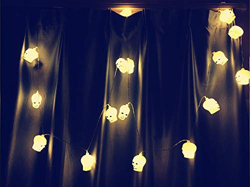 SUPAREE Luci della stringa della decorazione di Halloween, luci della casa del partito della lanterna puntelli leggiadramente luci della corda alimentate a batteria del cranio 2.8M 16Led