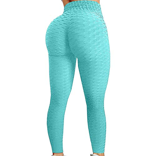 Famous Leggings High Waisted Lift Ruched Butt Yoga Pants Booty Lifting Anti Textured Scrunch Workout for Women, Mint Green,M