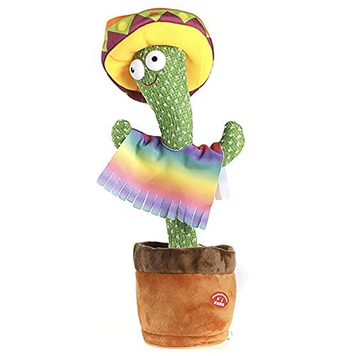 ZHONGPIN Juguete de Cactus de Felpa Que Baila y Canta para la decoración del hogar y niños Que juegan, Carga USB, 1 Pieza