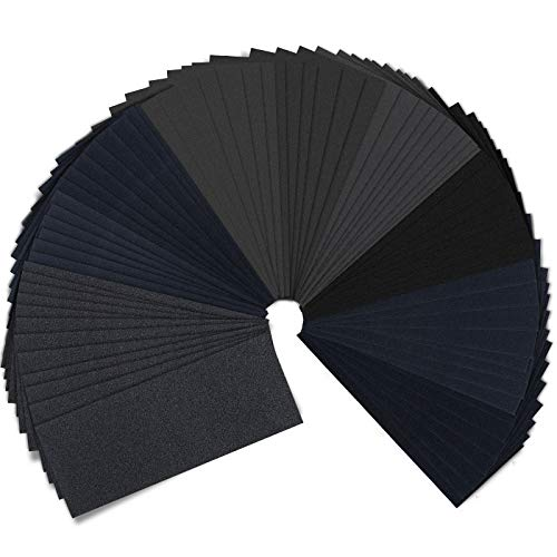 51 PCS Sandpaper Assorted, JatilEr 120 to 3000 Grits Sandpaper Sheets Wet and Dry Sanding Paper Mixed Pack for Plastic, Wood Furniture Finishing, Metal Sanding and Automotive Polishing, 23 x 9 cm