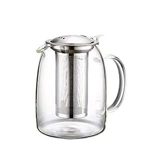 ティーポット 耐熱ガラス -20~150℃ 茶こし付き 冷蔵庫可 直火用 ティーウォーマー ラジエントヒーター対応 1100ml 麦茶 紅茶 フルーツティーポット 家庭 お店用 大容量 ピッチャー