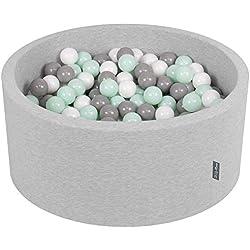 KiddyMoon 90X40cm/300 Balles ∅ 7Cm Piscine À Balles pour Bébé Rond Fabriqué en UE, Gris Clair:Blanc/Gris/Menthe