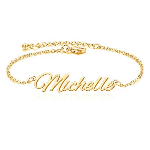 """She1001 Personalized Name Ankle Bracelet for Women Custom Initial Link Bar Anklet Bracelet with Any Names 18K Gold Plated Customized Name Jewelry for Girls 6.7""""-10.7"""""""