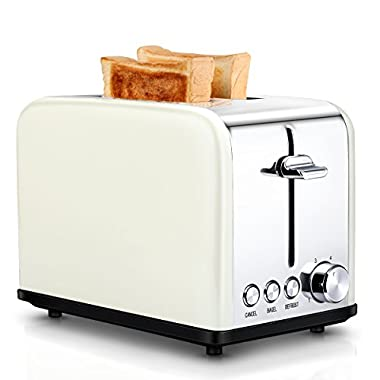 Compact Small Bread Bagel Toasters 2 Slice Best Rated, Wide Slot Stainless Steel Kitchen Toaster, Cream