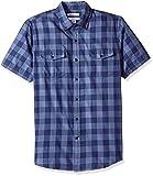 Amazon Essentials - Camisa de sarga y corte entallado con dos bolsillos y manga corta para hombre, Azul (Navy Buffalo Nbf), US S (EU S)
