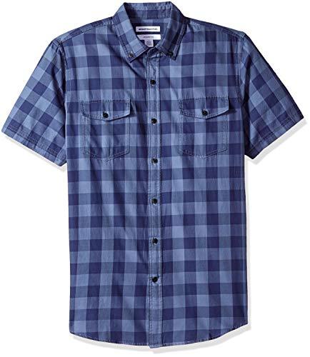 Amazon Essentials Camicia in Twill a Manica Corta Regular Fit con Due Taschini Uomo