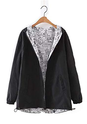 Q-QQ9 Spring Women's Two Sides Wear Loose Large Size Student Jacket Women's Hooded Jacket Small Coat*Black*XL Mmm