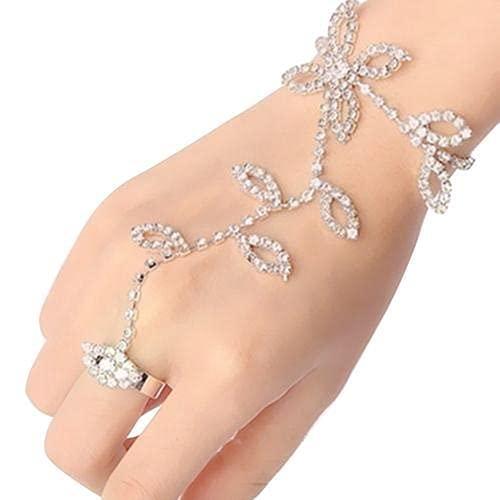 XKMY Cadena de mano con anillo breve mujeres cristal Rhinestone hoja mano arnés esclavo cadena enlace pie dedo anillo moda fiesta decoración anillos