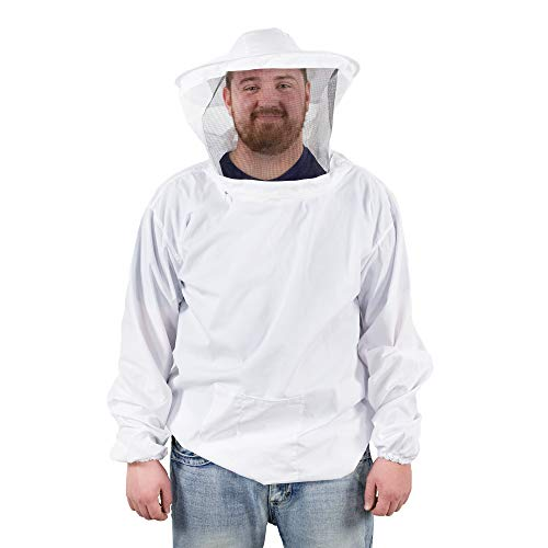 VIVO Professional White XXL Beekeeping Suit, Jacket, Pull Over, Smock with Veil (BEE-V105XL2)