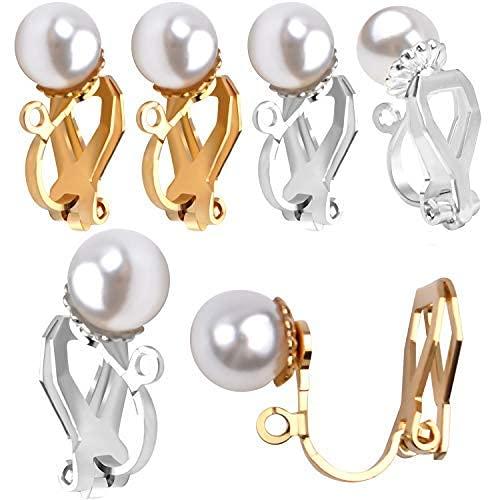 Aylifu - Convertitore per Orecchini a Clip, 12 Pezzi, con finte Perle Non forate, per la creazione di Orecchini, Argento e Oro
