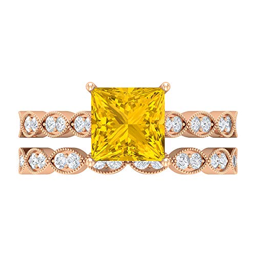 Rosec Jewels 14 quilates oro rosa talla princesa Round Brilliant Yellow Moissanite zafiro sintético amarillo
