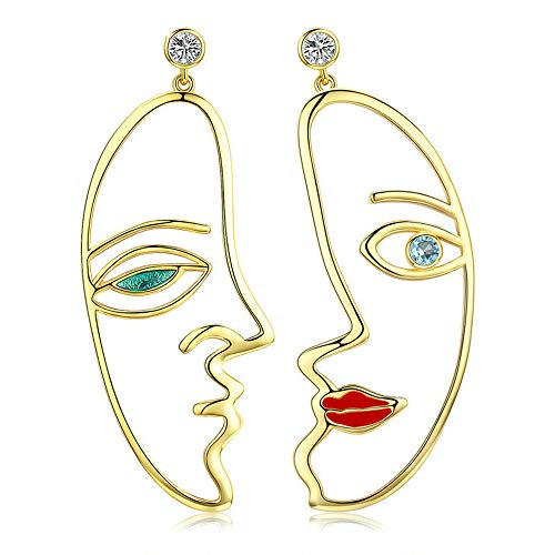 NEWL Trendy Silver Color Hyperbole Picasso Face Drop Earrings for Women Clear CZ Wedding Engagement Jewelry
