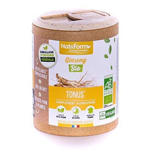 Nat & Form - Complément Alimentaire - Ginseng Rouge Bio - 200 Gélules