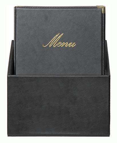 Securit klassieker voor menukaarten in doos, DIN A4, zwart, leer, 35 x 28 x 19, 8 cm