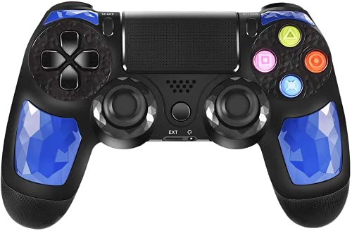 JORREP Controller per PS4, Wireless Controller per Playstation 4/Pro/3/Slim/PC, Wireless Gamepad Joystick con Shock a Doppia Vibrazione a Sei Sssi e Jack Audio Mini LED (Blu)