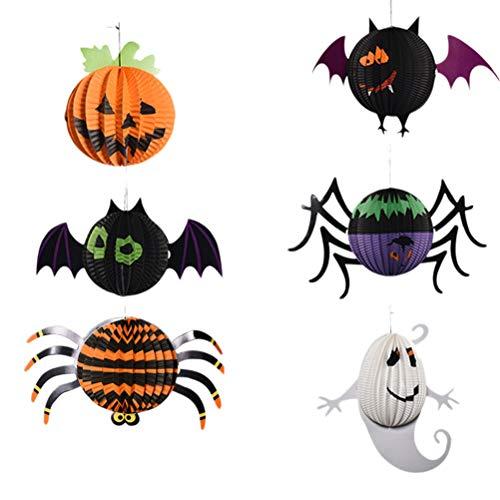 YEAHIBABY Halloween Papierlaterne Schläger Kürbis Spinne Laterne für Halloween Party Bars Dekoration, 6PCS