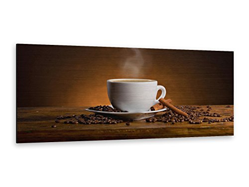 Butlerfinish®, aluminium Dibond afbeelding, koffie, 125 x 50 cm, edele geborstelde wandafbeelding, metalen effect, blikvanger! ALP12502158.