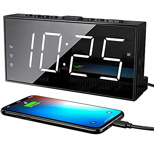 """Digital Alarm Clocks for Bedrooms, Loud Dual Alarm Clock for Heavy Sleepers with USB Charger, Snooze, Battery Backup, 7"""" Large LED Display, Plug in Basic Bedside Clock with Dimmer, Volume 12/24H DST"""