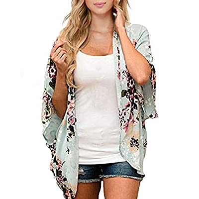Zando Women's Floral Print Cover Up Summer Loose Puff Sleeve Open Front Kimono Cardigans Casual Blouse Tops Green Small from Zando