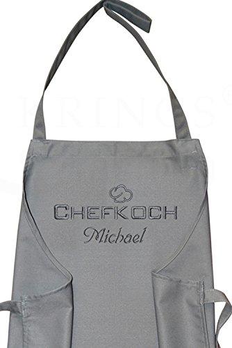 KringsFashion Latzschürze Chefkoch + Name, hochwertig Bestickt, Graphit grau, Kochschürze, Küchenschürze, Schürze und Stickerei deutsche Produktion;