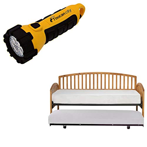 Toucan City LED Flashlight and Hillsdale Furniture Carolina Country Pine Daybed with Suspension Deck and Roll-Out Trundle 1108DBLHTR
