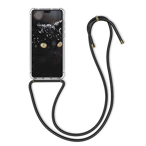 kwmobile Carcasa con Cuerda Compatible con Huawei P20 Pro - Funda Transparente de TPU con Cuerda para Colgar en el Cuello