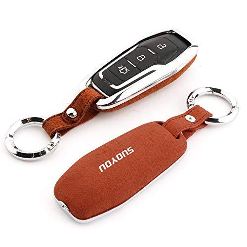 ontto - Funda para llave de coche Ford - aleación de zinc y cuero para Ford Taurus Edge Explorer Mu
