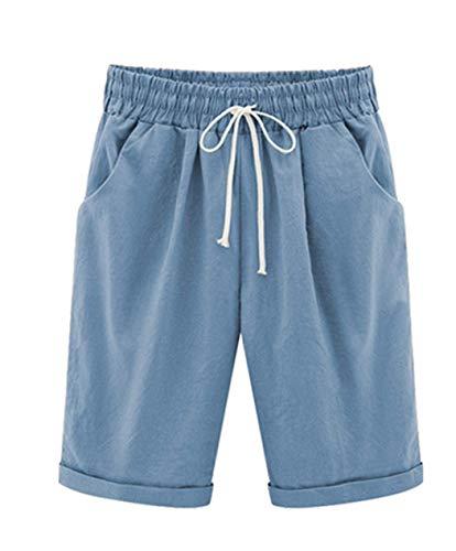 Vcansion Women's Loose Elastic-Waisted Bermuda Drawstring Casual Shorts Light Blue Asian 6XL/US 16-18