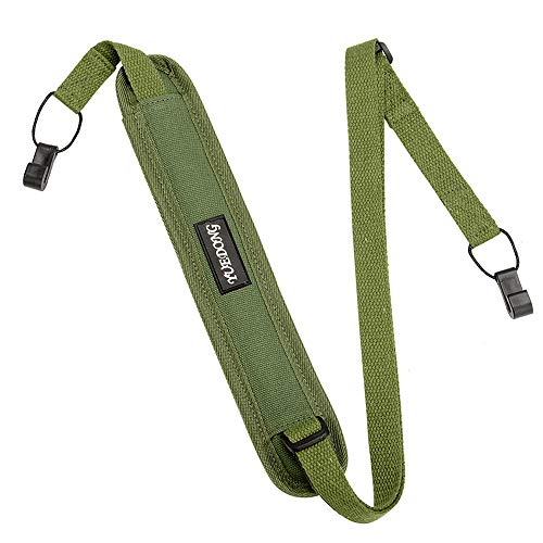 ウクレレストラップUkulele Strap調整可能 引っ掛けやすい フックタイプ 穴開け不要 麻綿製 (緑)