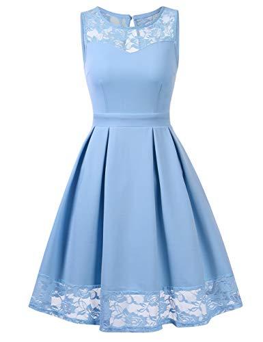 KOJOOIN Damen Abendkleider Spitzen Brautjungfernkleider für Hochzeit festliches Kurzes Cocktailkleid Ballkleid Ärmellos Himmelblau S