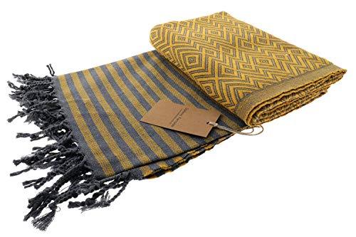 Stefano Ferrante KELIM LUX Hamamtuch Saunatuch Pestemal Fouta Strandtuch Badetuch Handtuch Baumwolle Backpacker 100x180 cm (Safran)