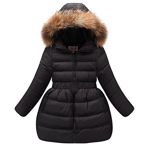 LSERVER Fille Manteau d'hiver Doudoune Neige Capuche Fourrure Robe Mi-Long, Noir, 5-6 Ans(Taille Fabricant: 120)