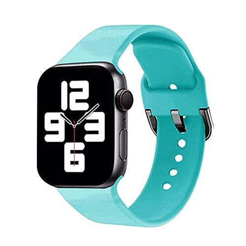 Ternzun Correa de silicona compatible con la correa de Apple Watch de 40 mm, 44 mm, 38 mm, 42 mm, pulsera deportiva para iWatch Series 3, 4, 5, 6 SE (42 mm o 44 mm, ML,15-verde azulado)